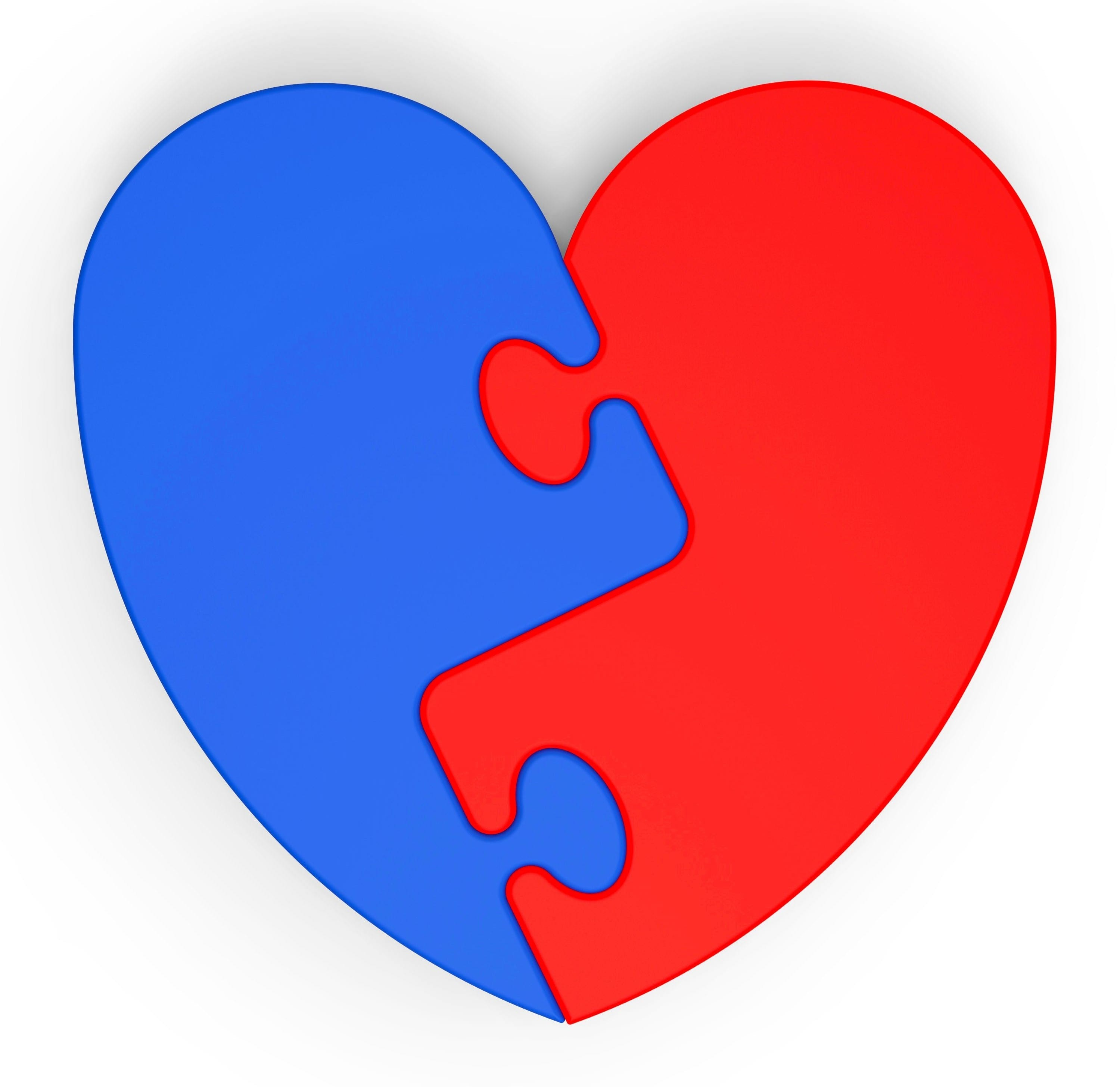 Two-Colored Heart Showing Love Complement Or Couple